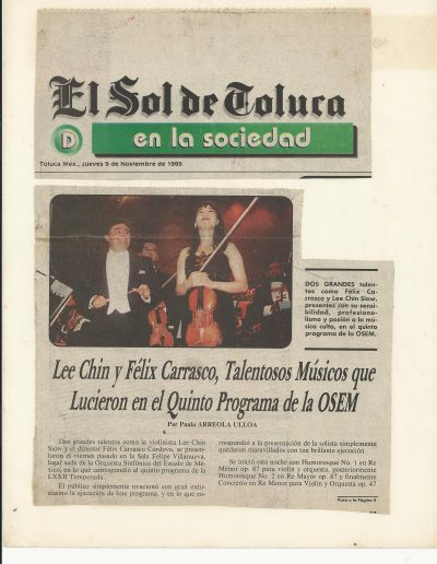 Siow Lee Chin making headlines in Mexico newspapers after winning Gold Medal, 1994 Henryk Szeryng Competition